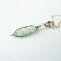 White jade 'Peas in a Pod' necklace - other colours and sizes available