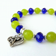 Handmade heart charm bracelet, with lime green peridot & blue crystal