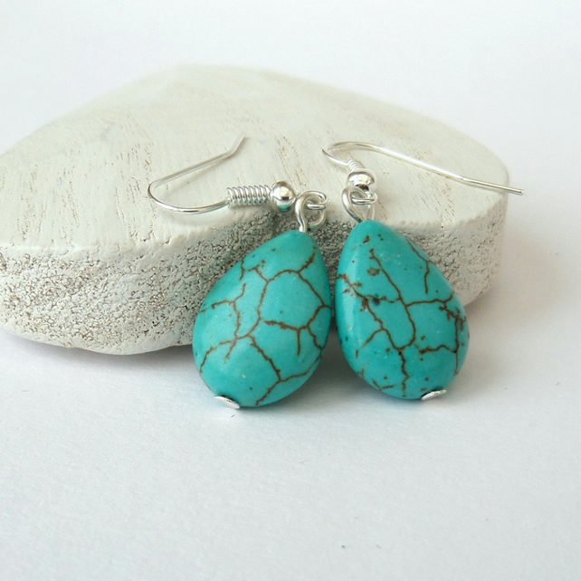 SALE: Turquoise teardrop earrings