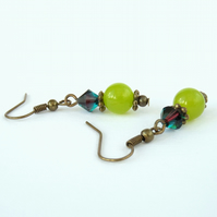 Green peridot bronze earrings with Swarovski® 'Montana' blends crystal