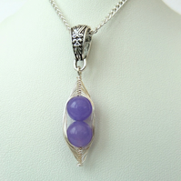 Purple jade 'Peas in a Pod' necklace - other colours and sizes available
