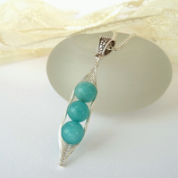 Turquoise blue jade 'Peas in a Pod' necklace - other sizes & colours available