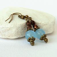 Blue jade and brown crystal earrings