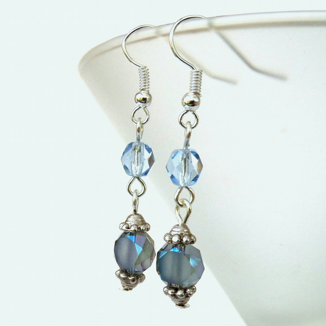 SALE: Dangly blue crystal earrings