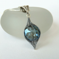 SALE: Wire wrapped crystal pendant necklace