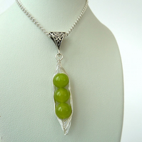 Peas in a Pod necklace with vivid green peridot, other colours & sizes available