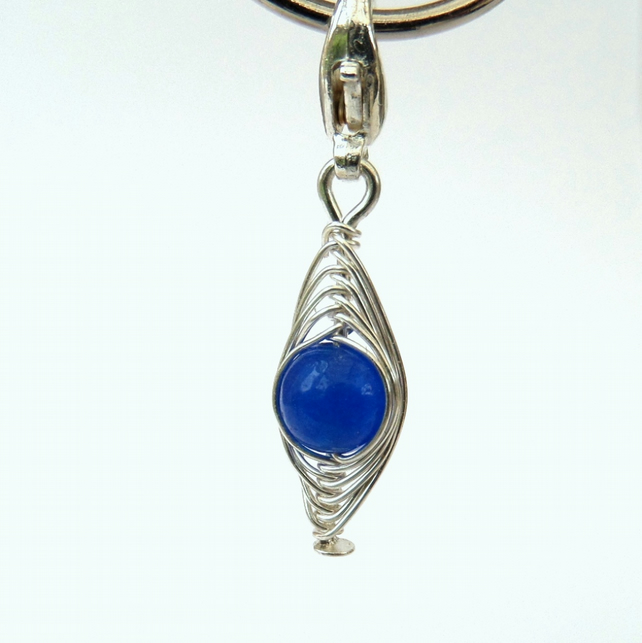 Peas in a Pod blue jade clip on charm, bracelet charm, necklace charm