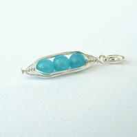 Peas in a Pod turquoise jade charm, bracelet charm, pendant charm