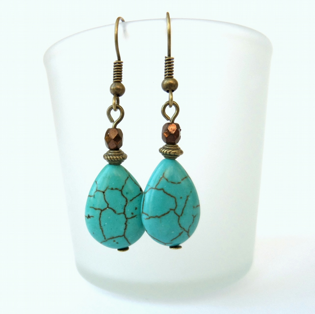 Turquoise teardrop earrings, vintage inspired bronze earrings