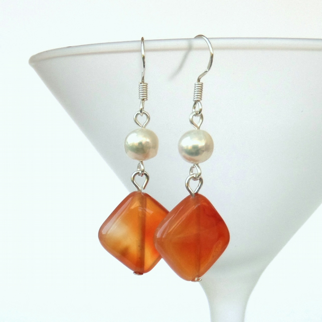 SALE: Carnelian & pearl silver earrings