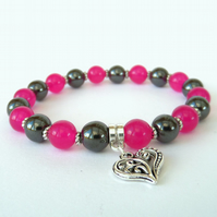 Pink jade and hematite bracelet, with heart charm embelishment