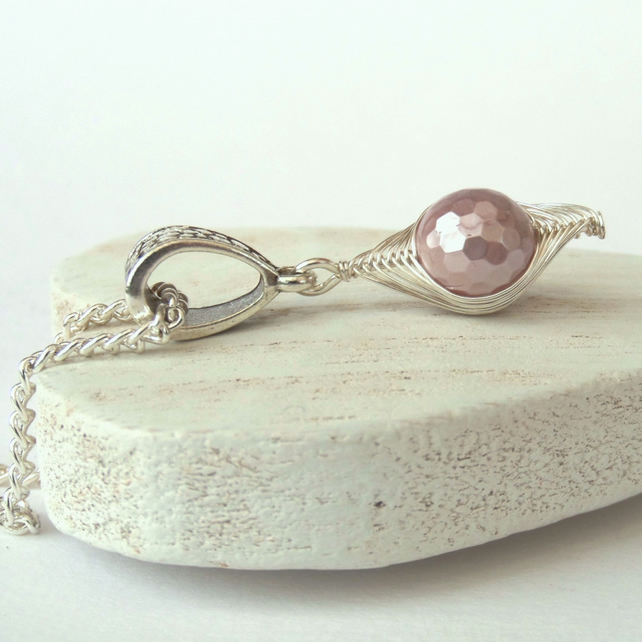 Dusky pink shell pearl wire wrapped necklace