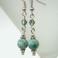 Handmade green fire agate & crystal earrings