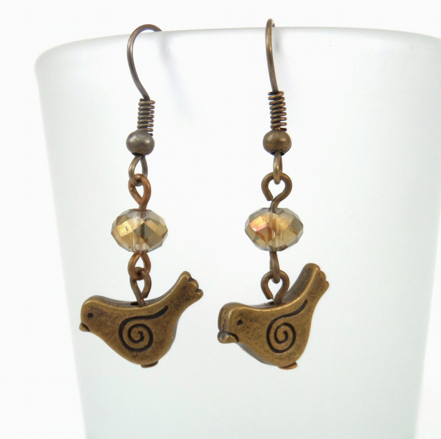 Gold crystal and bronze earrings with little bird charm