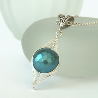Teal shell pearl necklace, wire wrapped necklace