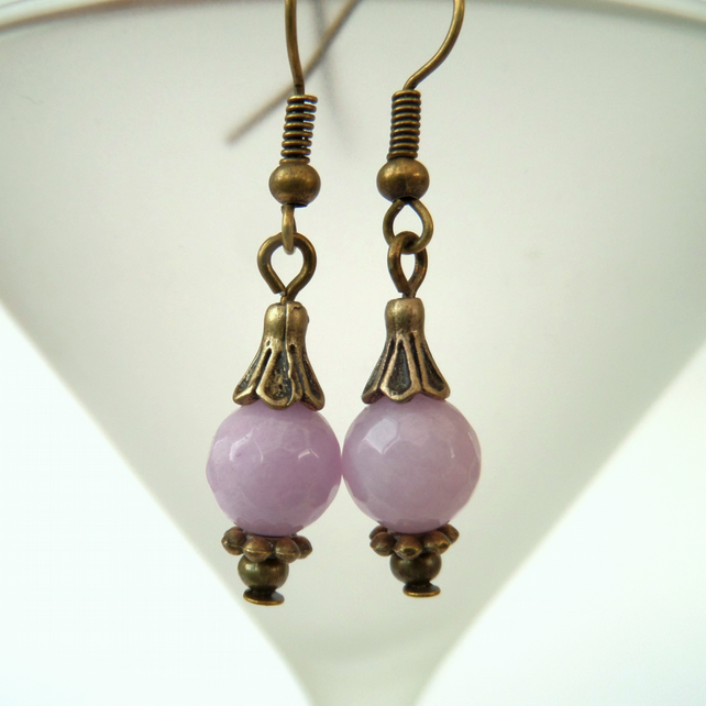 SALE: Lavender pink jade bronze earrings, vintage inspired