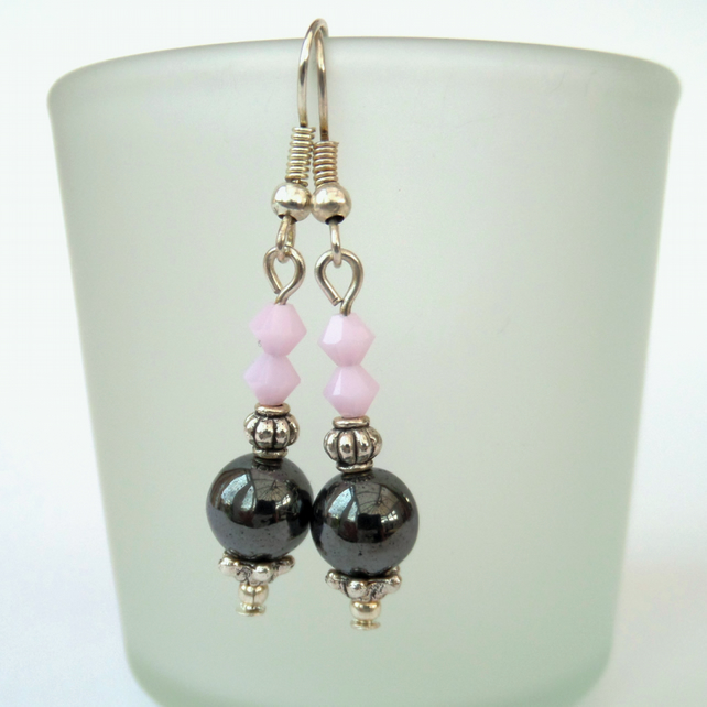 SALE: Handmade hematite earrings with pink crystals by Swarovski®