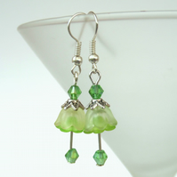 Handmade green flower earrings, with crystal and lucite