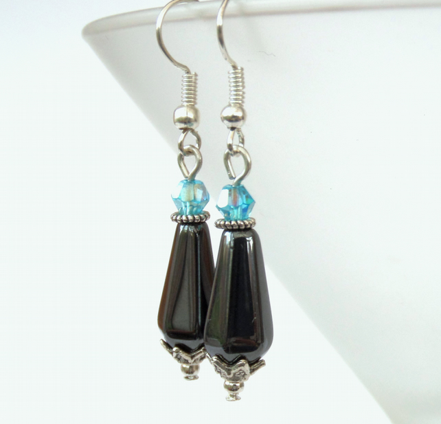 Handmade hematite earrings, with blue crystal