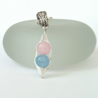 Pink & blue Peas in a Pod necklace, other colour combinations & sizes available