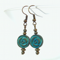 Turquoise coloured hematite bronze  earrings