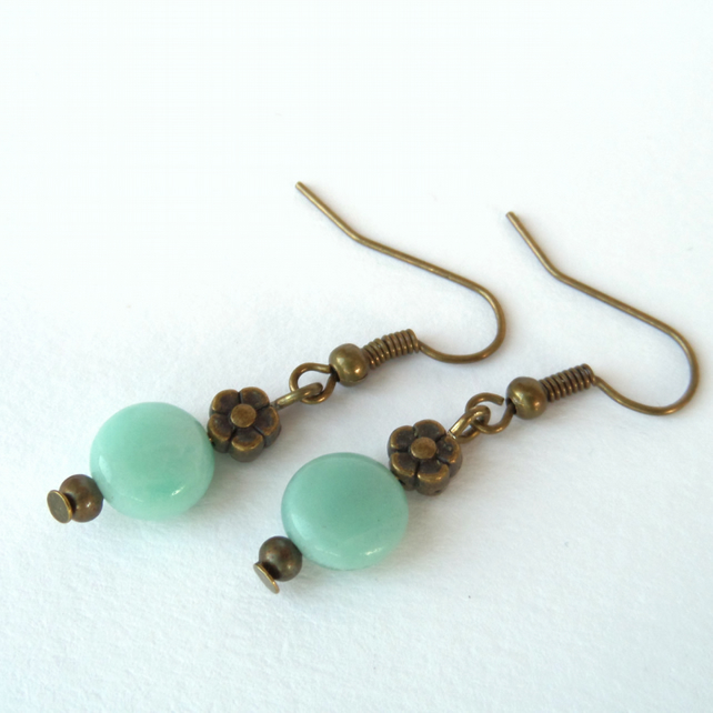 Handmade amazonite gemstone bronze earrings