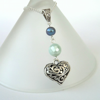 Pearl and pastel green shell pearl necklace with heart charm