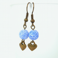 Blue agate gemstone bronze earrings, with heart charm
