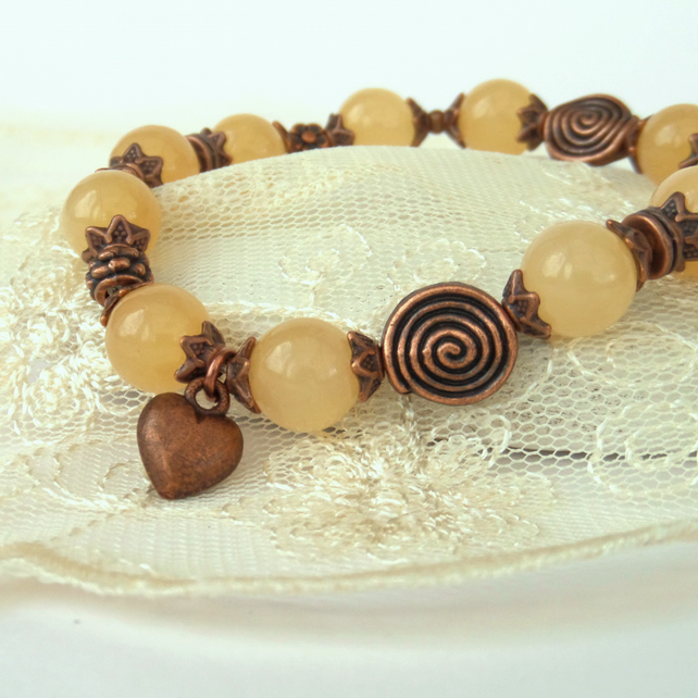 Honey jade & copper stretchy bracelet