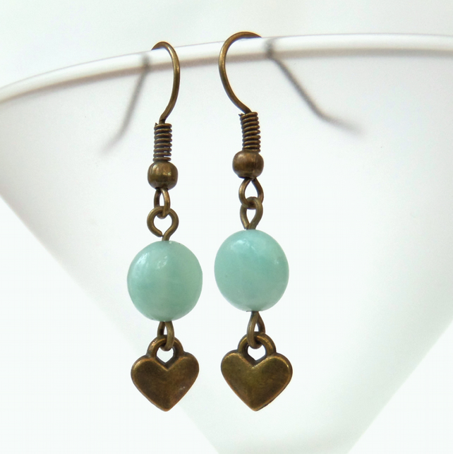 Amazonite gemstone bronze earrings, vintage style with heart charm