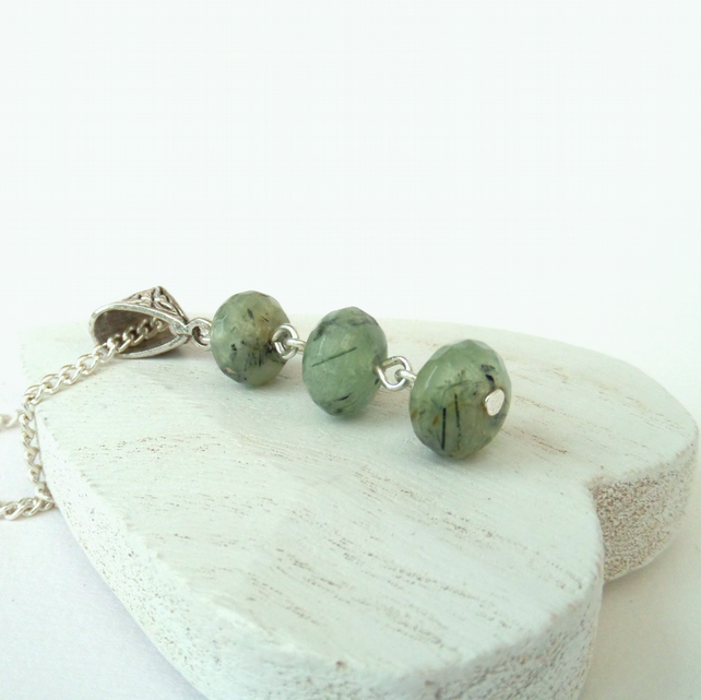 Dainty green prehnite gemstone necklace