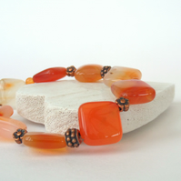 Carnelian and copper stretchy bracelet