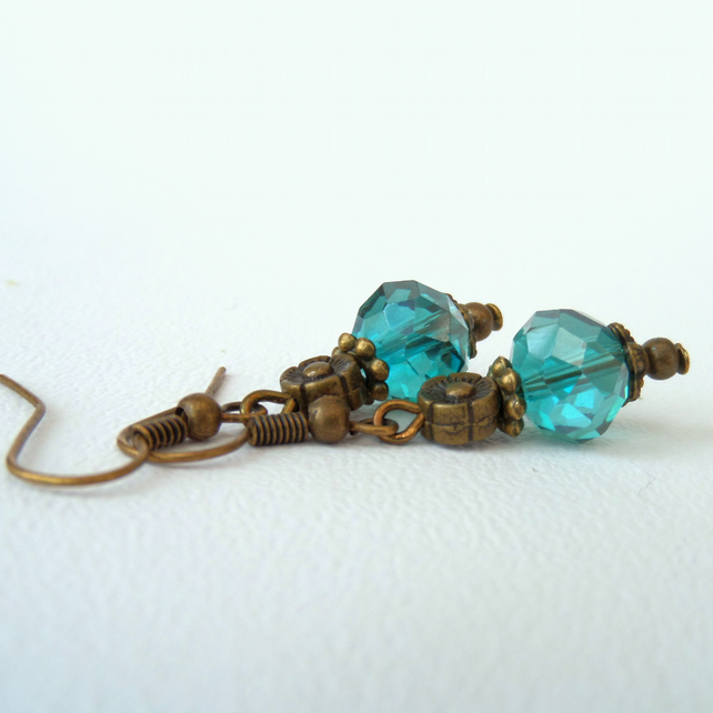 Green crystal bronze earrings, vintage inspired earrings