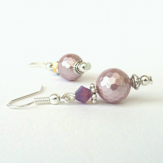 Pink shell pearl and crystal earrings, with crystals by Swarovski®