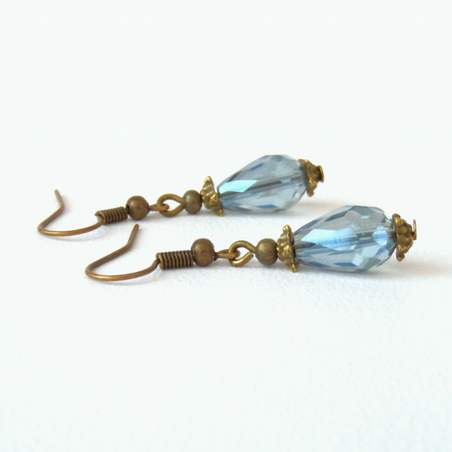 Vintage style earrings, blue crystal and bronze earrings