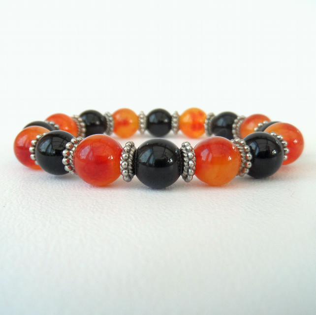 Black & orange gemstone stretchy bracelet