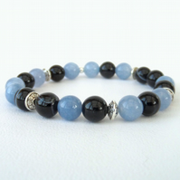Black & blue gemstone stretchy bracelet, blue aventurine & banded black agate