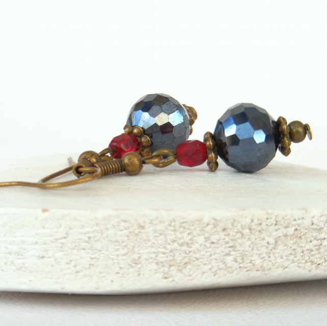 Jet and red crystal earrings, vintage inspired