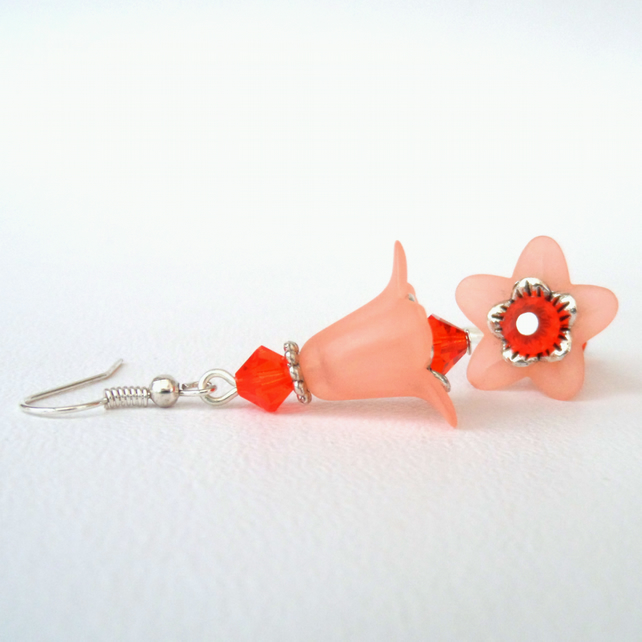 Orange & peach flower earrings