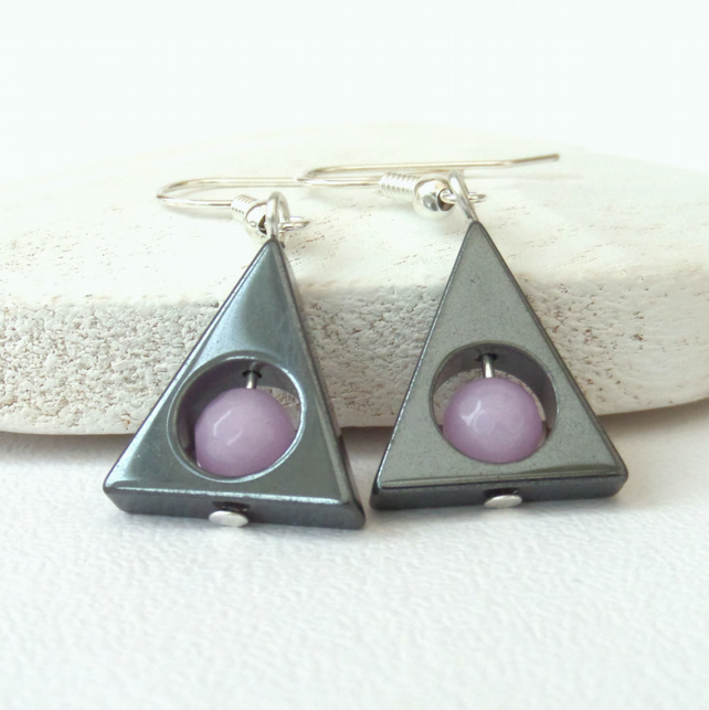 SALE: Hematite and lavender jade triangular earrings