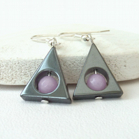 Hematite and lavender jade triangular earrings