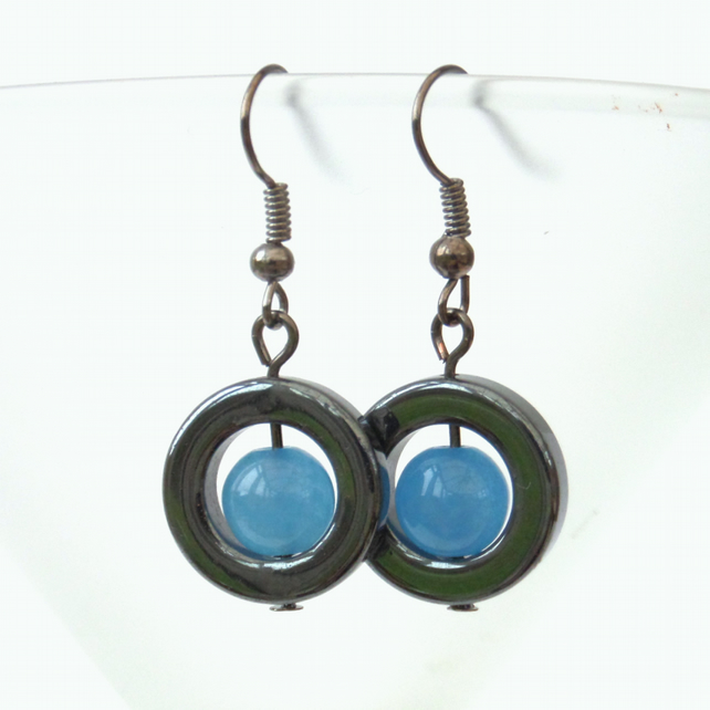 Blue jade and hematite earrings