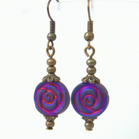Pink & purple hematite earrings