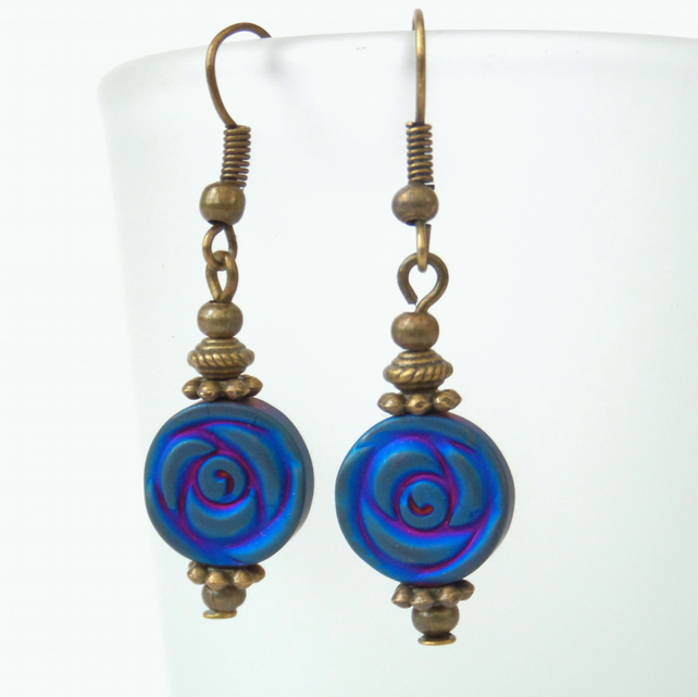 Blue hematite & bronze earrings