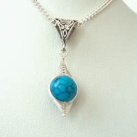 SALE: Turquoise magnesite wire wrapped necklace