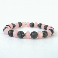 Rose quartz and black labradorite (larkvite) stretchy bracelet