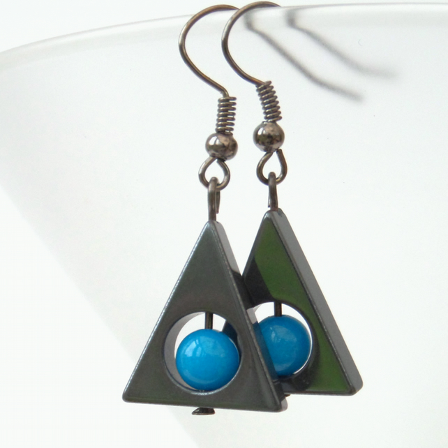 Triangle hematite earrings with blue mountain jade