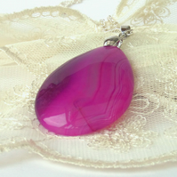 Pink agate gemstone pendant necklace, ideal gift