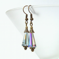 Rainbow crystal and bronze earrings, vintage inspired