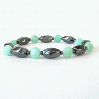 SALE: Hematite and amazonite stretchy gemstone bracelet
